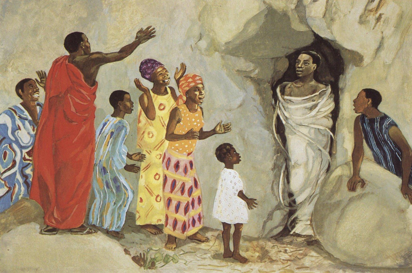 Jesus raises Lazarus to life, painting by Jesus Mafa